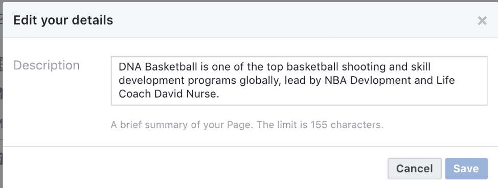 Add Descriptions to Your Facebook Page
