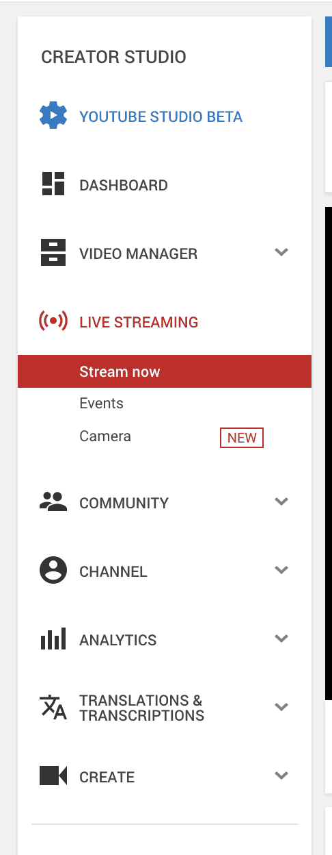 Youtube Creator Studio Live Streaming Options